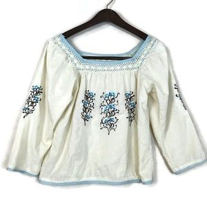 Odille Anthropologie Embroidered Top Sz 8